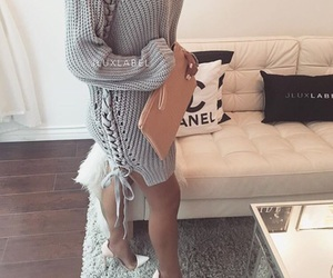 fashion, heels, and sweater image
