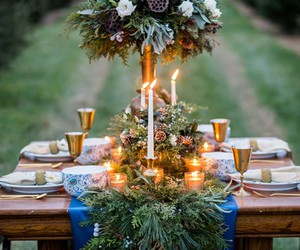 dinner, dinner party, and greenery image