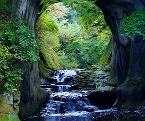 japan and waterfall image