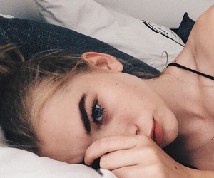 beauty, bed, and blonde hair image