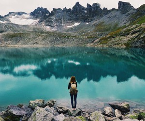alone, girl, and backpack image