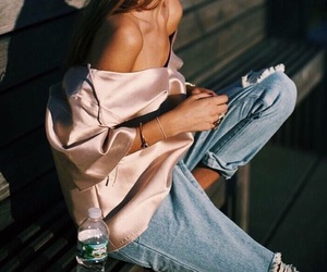 street style, denim grunge fashion, and tanned image