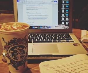 book, coffe, and desk image