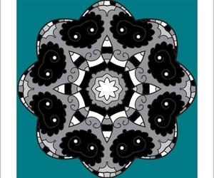 black&white, mandala, and blue image