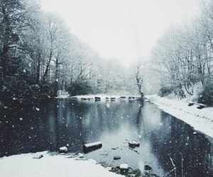 winter, snow, and lake image