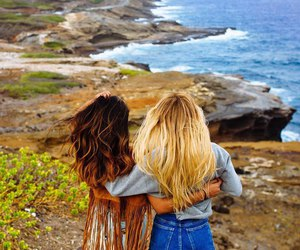 friends, hair, and sea image