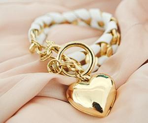 heart, bracelet, and gold image