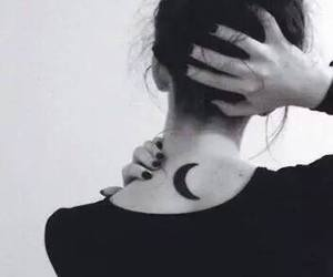 moon, tattoo, and black image