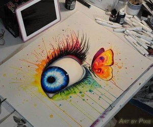 eye, butterfly, and art image