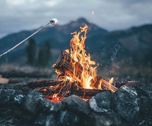 fire, nature, and mountains image