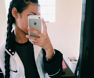 nike, hair, and iphone image