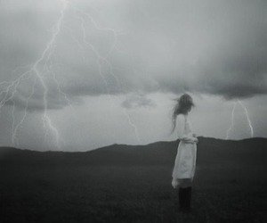 girl, black and white, and storm image