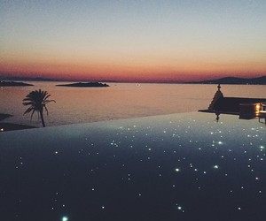 stars, sunset, and pool image