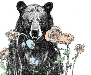 bear, flowers, and art image