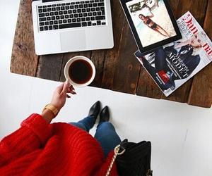 magazine, fashion, and coffee image