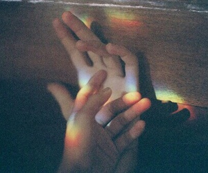 hands, rainbow, and grunge image