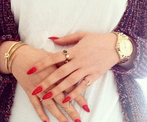 gold, long nails, and nails image