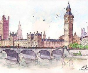 london, drawing, and Big Ben image