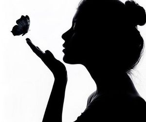 black, butterfly, and face image