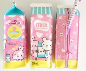 pink, kawaii, and milk image