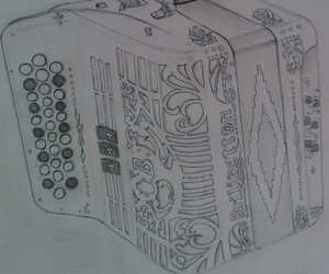 accordion, drawing, and sound image