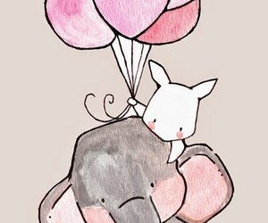 wallpaper, elephant, and balloons image