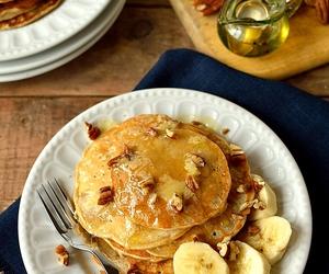 banana, honey, and pancakes image