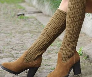 knee high boots, women shoes, and low heels image
