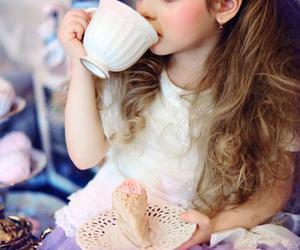 girl, kid, and tea image