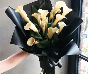flowers, black, and yellow image