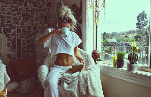 girl, coffee, and morning image