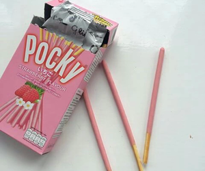 pink, pocky, and strawberry image