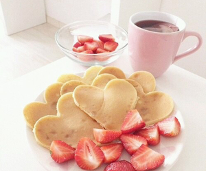pancakes, strawberry, and breakfast image