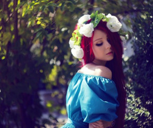 beauty, flowers, and red hair image