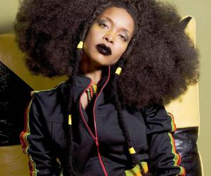 erykah badu, afro hair, and fashion image