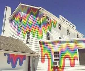house, rainbow, and grunge image