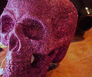 glitter, skull, and pink image