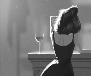 art, wine, and black and white image