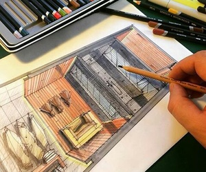 architecture, colors, and sketch image