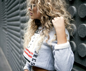 blonde, curly hair, and style image
