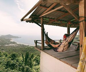 green, hammock, and house image