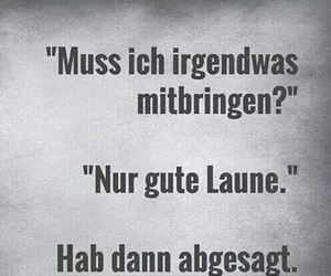 gute laune, sacasm, and no party tonight image