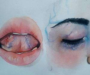 art, lips, and eyes image