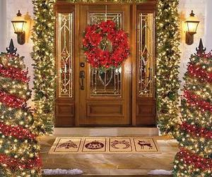 christmas, light, and door image