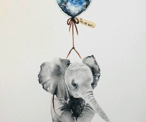 elephant, art, and balloon image