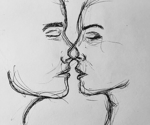 art, kiss, and drawing image