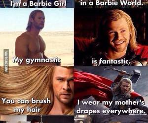 thor, barbie, and funny image