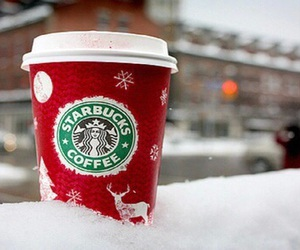 starbucks, snow, and winter image