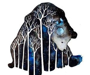 bear, night, and art image