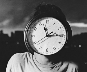 clock, black and white, and boy image